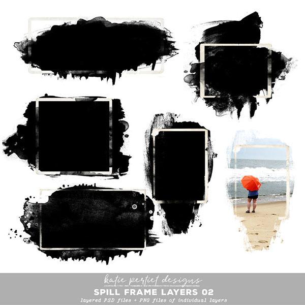 Spill Frame Layers 02 Digital Art - Digital Scrapbooking Kits