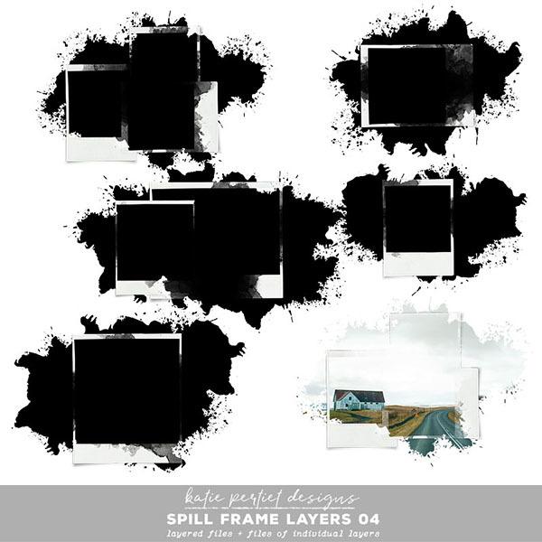 Spill Frame Layers 04 Digital Art - Digital Scrapbooking Kits