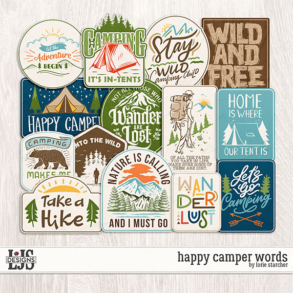 Happy Camper Words Digital Art - Digital Scrapbooking Kits