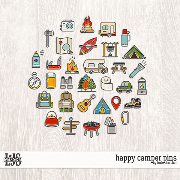 Happy Camper Pins Digital Art - Digital Scrapbooking Kits