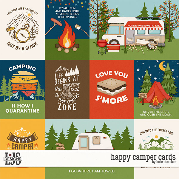 Happy Camper Cards Digital Art - Digital Scrapbooking Kits