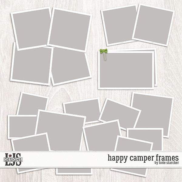 Happy Camper Frames Digital Art - Digital Scrapbooking Kits