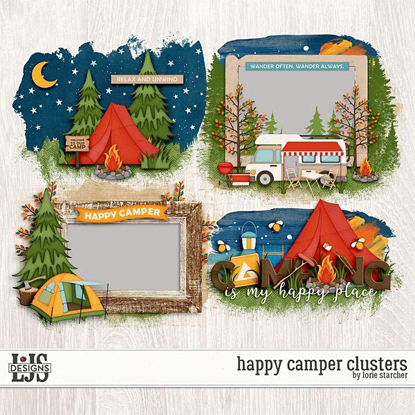 Happy Camper Clusters Digital Art - Digital Scrapbooking Kits