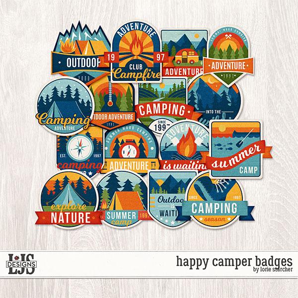 Happy Camper Badges Digital Art - Digital Scrapbooking Kits