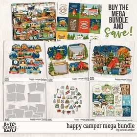 Happy Camper Mega Bundle Digital Art - Digital Scrapbooking Kits