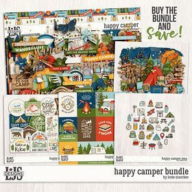 Happy Camper Bundle Digital Art - Digital Scrapbooking Kits