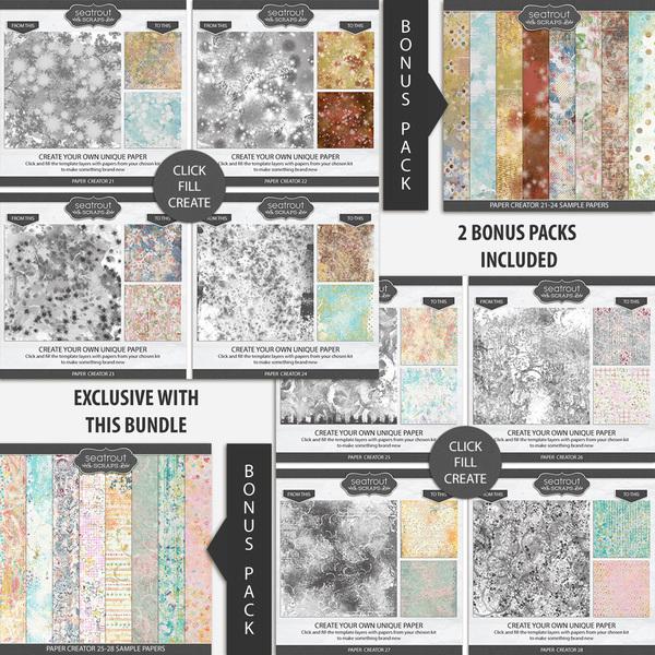 Paper Creator 21-28 Bonus Bundle Digital Art - Digital Scrapbooking Kits