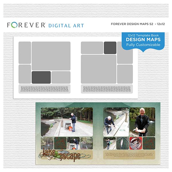 Forever Design Maps 52 - 12x12 Digital Art - Digital Scrapbooking Kits