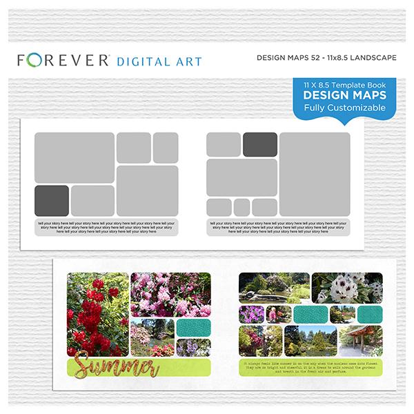 Forever Design Maps 52 - 11x8.5 Digital Art - Digital Scrapbooking Kits