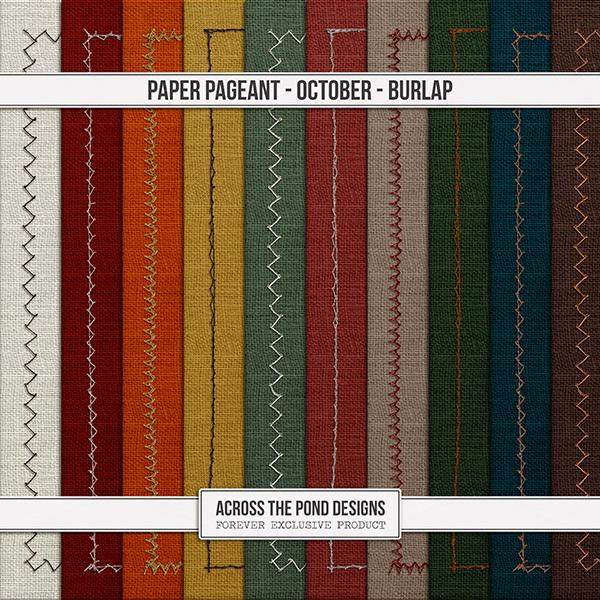 Paper Pageant - October - Burlap Digital Art - Digital Scrapbooking Kits