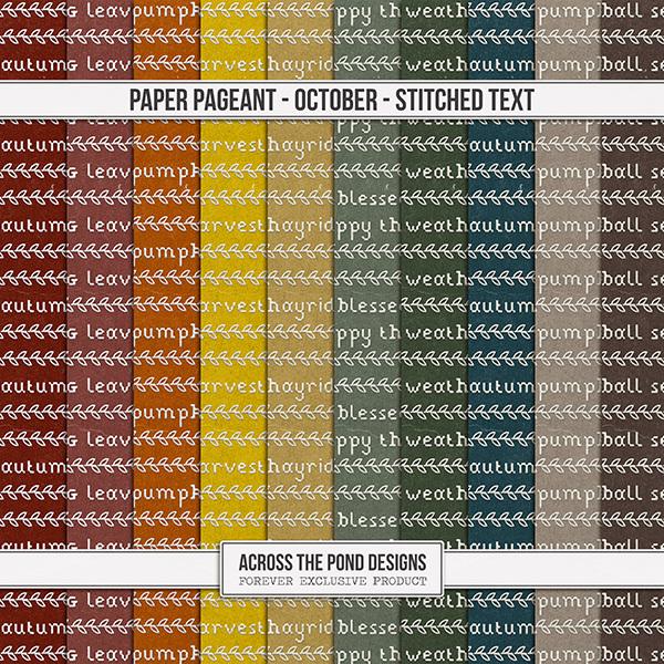 Paper Pageant - October - Stitched Text Digital Art - Digital Scrapbooking Kits
