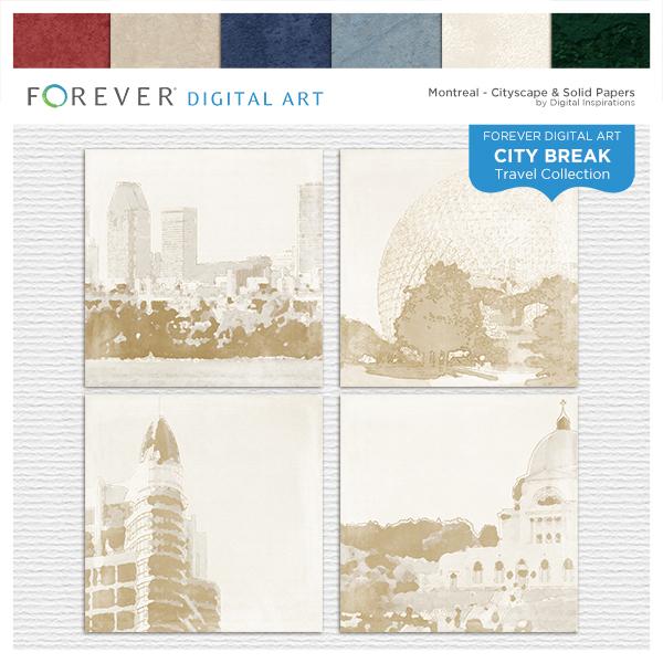 City Break - Montreal - Cityscape & Solid Papers Digital Art - Digital Scrapbooking Kits