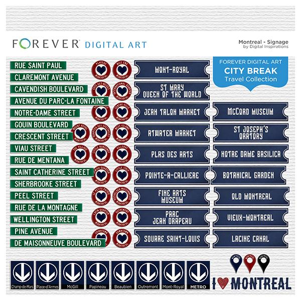City Break - Montreal - Signage Digital Art - Digital Scrapbooking Kits