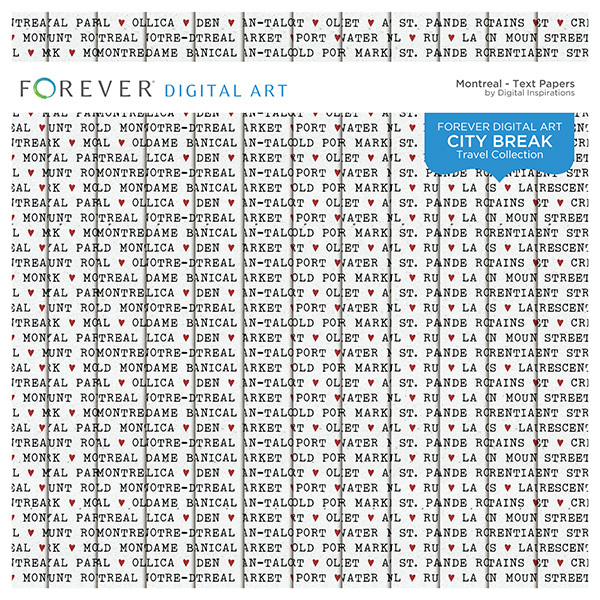City Break - Montreal - Text Papers Digital Art - Digital Scrapbooking Kits