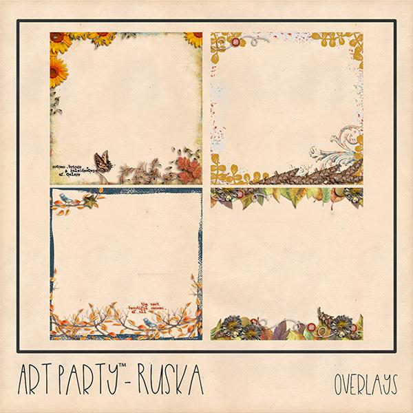 Ruska Overlays Digital Art - Digital Scrapbooking Kits