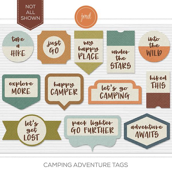 Camping Adventure Tags Digital Art - Digital Scrapbooking Kits