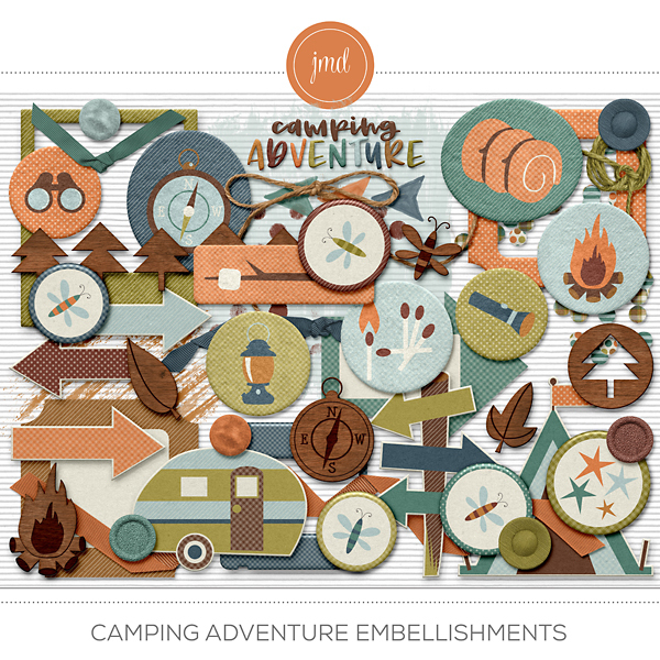 Camping Adventure Embellishments Digital Art - Digital Scrapbooking Kits