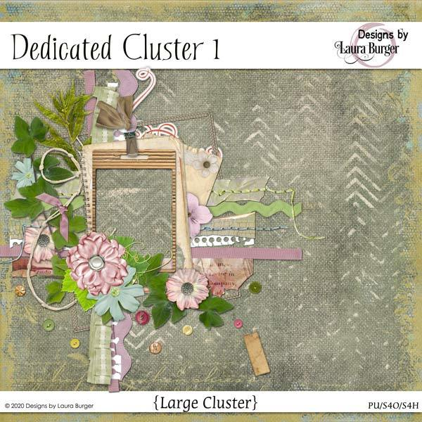 Dedicated Cluster Set 1 Digital Art - Digital Scrapbooking Kits