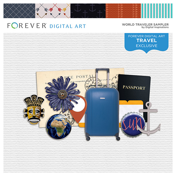 World Traveler Sampler Digital Art - Digital Scrapbooking Kits