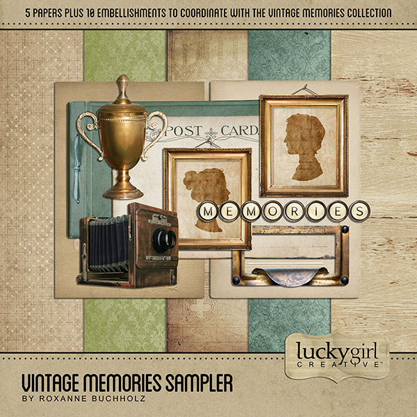 Vintage Memories Sampler Digital Art - Digital Scrapbooking Kits