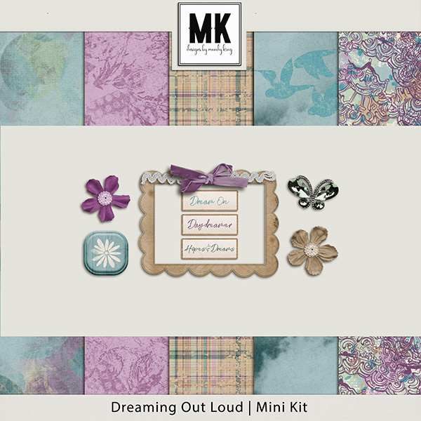 Dreaming Out Loud Sampler Digital Art - Digital Scrapbooking Kits