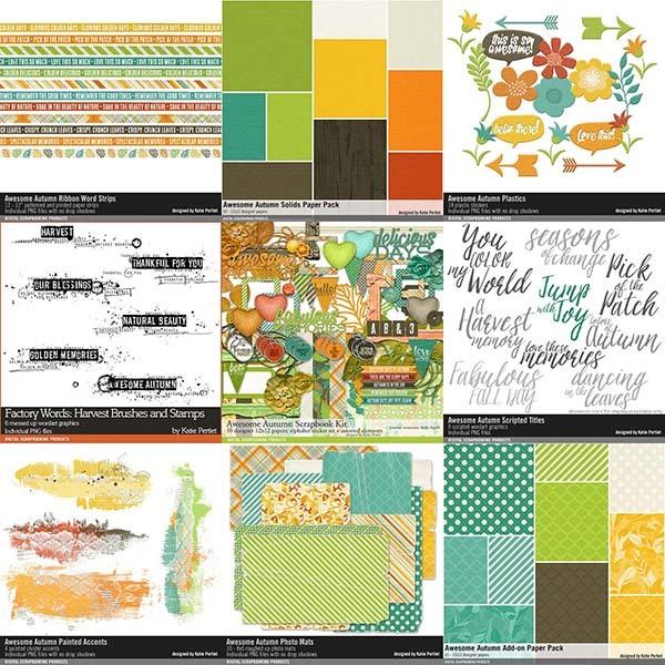 Awesome Autumn Scrapbooking Collection Digital Art - Digital Scrapbooking Kits