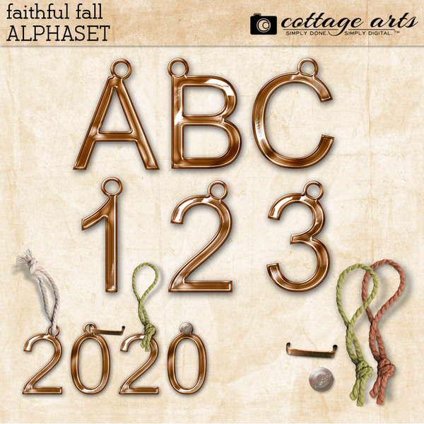 Faithful Fall AlphaSet Digital Art - Digital Scrapbooking Kits