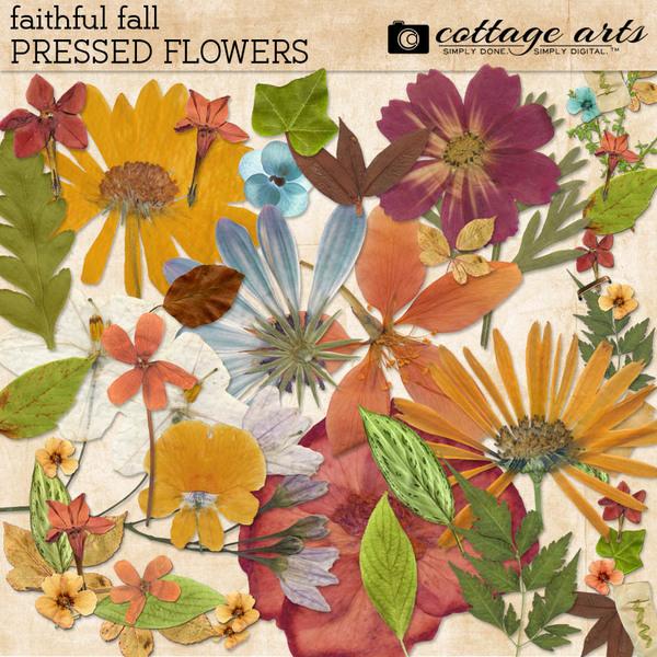 Faithful Fall Pressed Flowers Digital Art - Digital Scrapbooking Kits