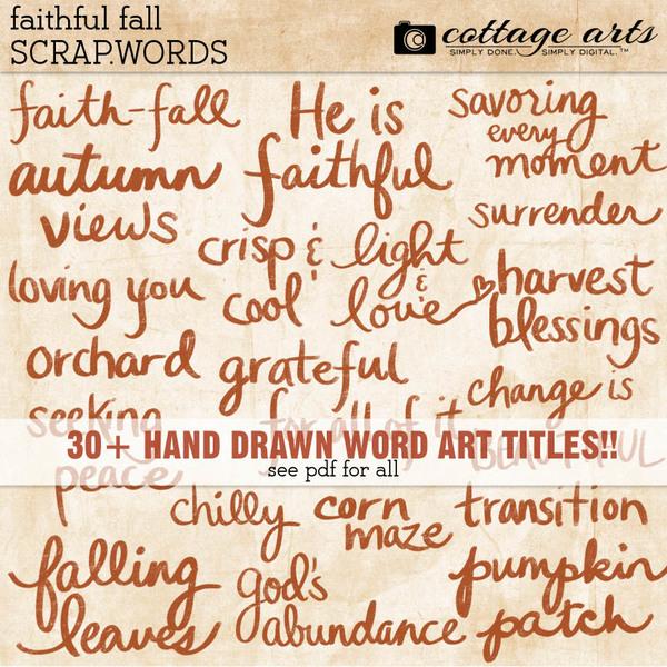 Faithful Fall Scrap.Words Digital Art - Digital Scrapbooking Kits