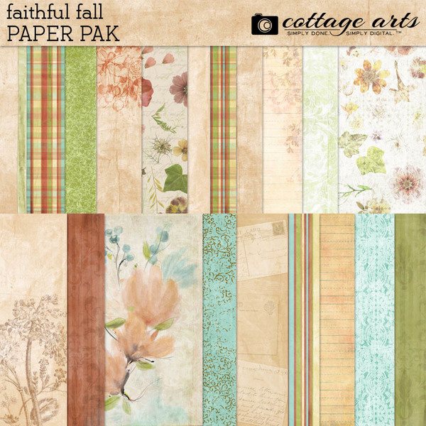 Faithful Fall Paper Pak Digital Art - Digital Scrapbooking Kits