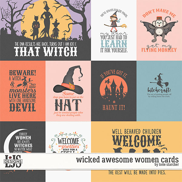 Wicked Awesome Women Cards Digital Art - Digital Scrapbooking Kits