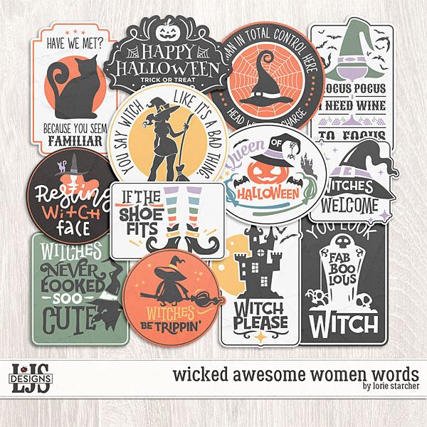 Wicked Awesome Women Words Digital Art - Digital Scrapbooking Kits