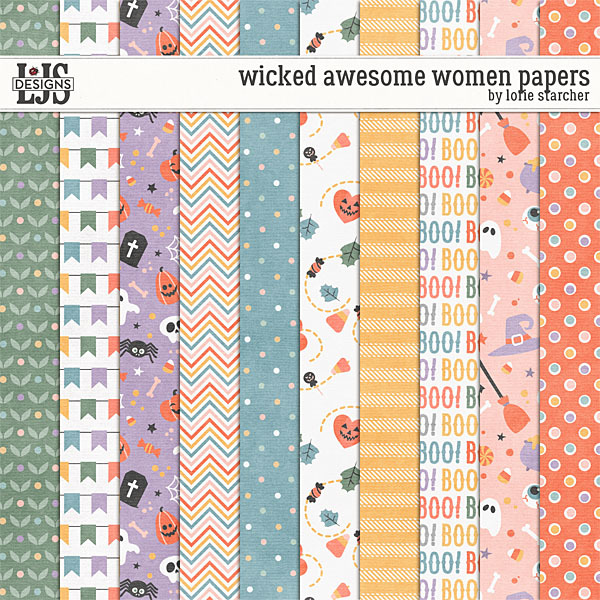 Wicked Awesome Women Paper Digital Art - Digital Scrapbooking Kits