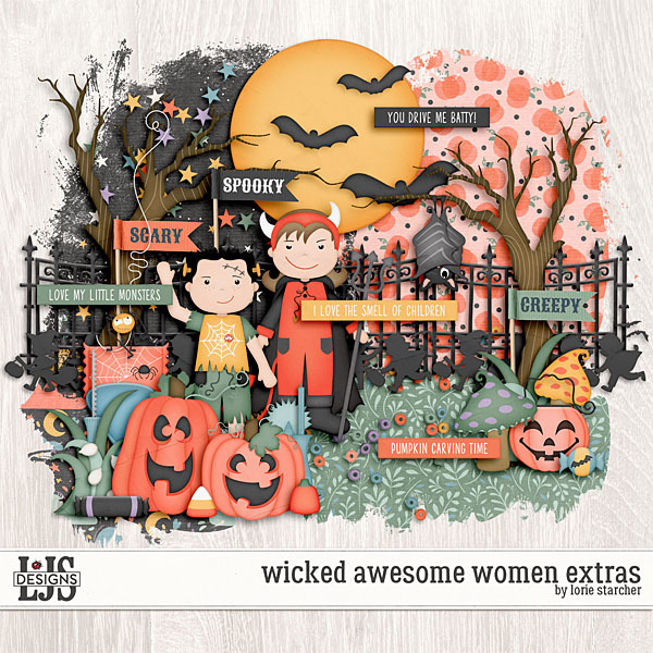 Wicked Awesome Women Extras Digital Art - Digital Scrapbooking Kits