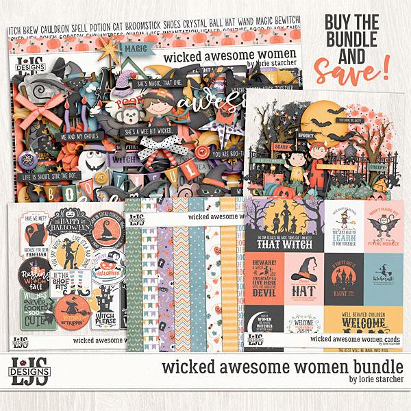 Wicked Awesome Women Bundle Digital Art - Digital Scrapbooking Kits