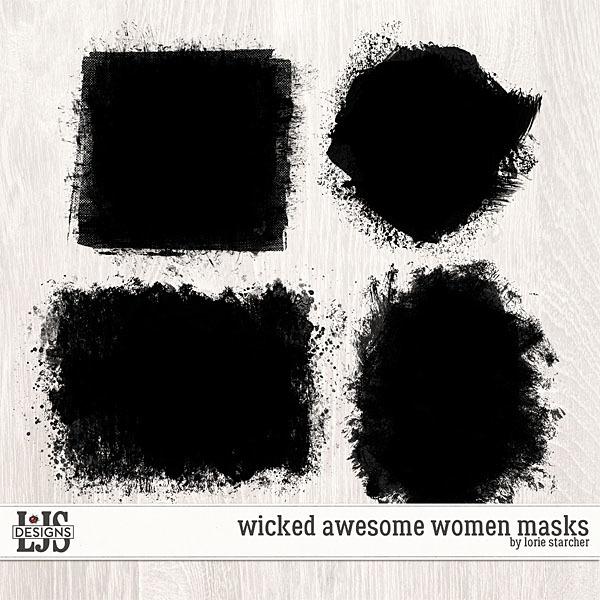 Wicked Awesome Women Masks Digital Art - Digital Scrapbooking Kits
