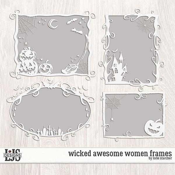 Wicked Awesome Women Frames Digital Art - Digital Scrapbooking Kits