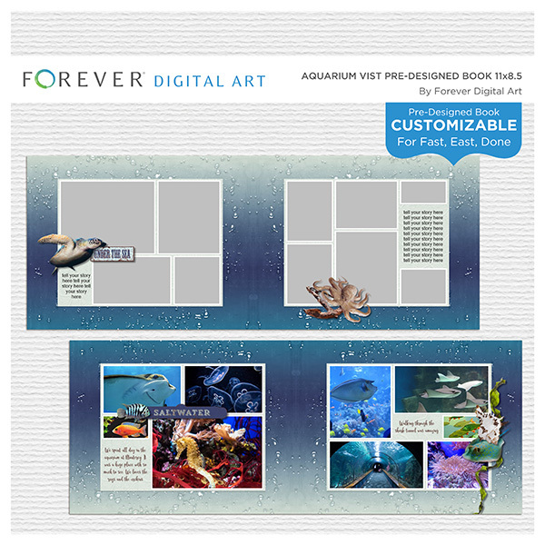Aquarium Visit Pre-Designed Book 11x8.5 Digital Art - Digital Scrapbooking Kits