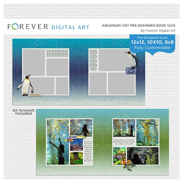 Aquarium Visit Pre-Designed Book 12x12 Digital Art - Digital Scrapbooking Kits
