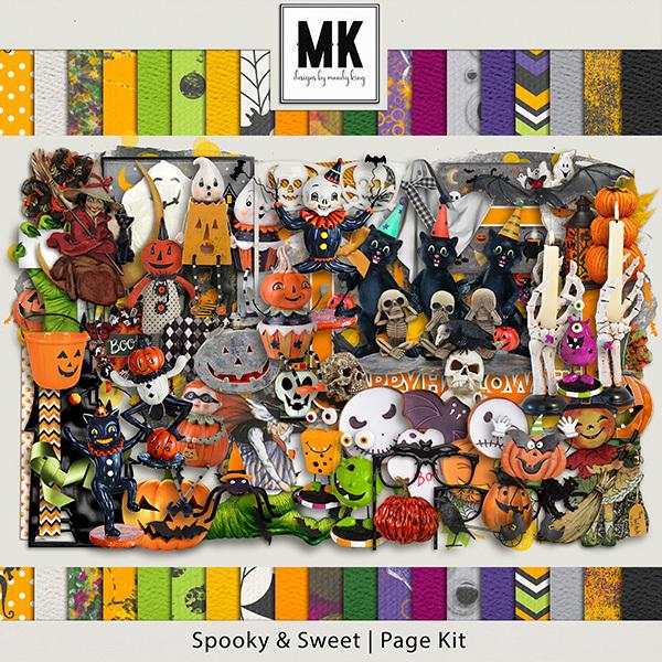 Spooky & Sweet Page Kit Digital Art - Digital Scrapbooking Kits