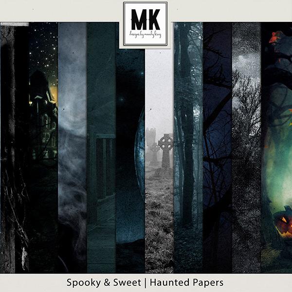 Spooky & Sweet Haunted Papers Digital Art - Digital Scrapbooking Kits