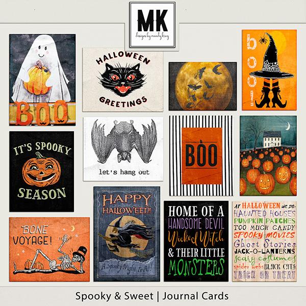 Spooky & Sweet Journal Cards Digital Art - Digital Scrapbooking Kits