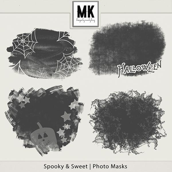 Spooky & Sweet Photo Masks Digital Art - Digital Scrapbooking Kits