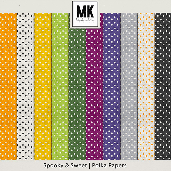 Spooky & Sweet Polka Papers Digital Art - Digital Scrapbooking Kits