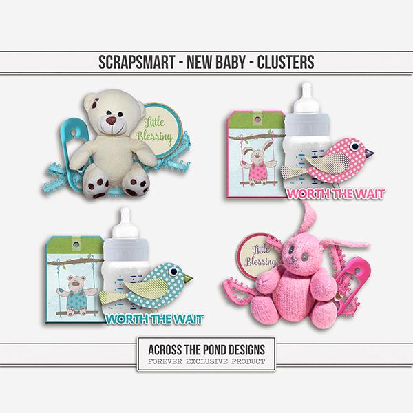ScrapSmart - New Baby - Clusters Digital Art - Digital Scrapbooking Kits
