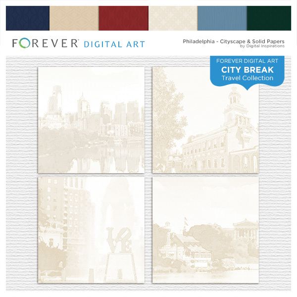 City Break - Philadelphia - Cityscape & Solid Papers Digital Art - Digital Scrapbooking Kits