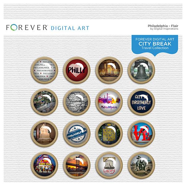 City Break - Philadelphia - Flair Digital Art - Digital Scrapbooking Kits