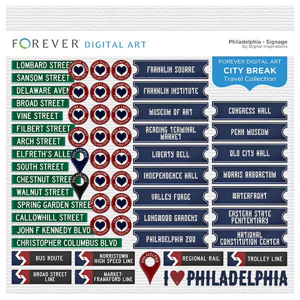 City Break - Philadelphia - Signage Digital Art - Digital Scrapbooking Kits