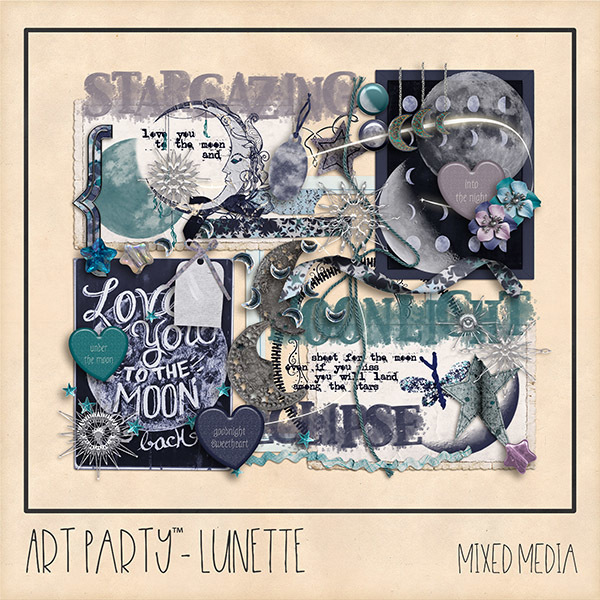 Lunette Mixed Media Embellishments Digital Art - Digital Scrapbooking Kits