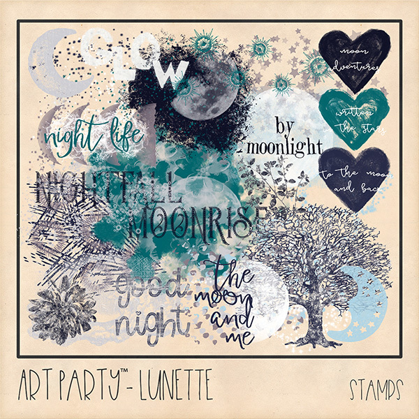 Lunette Stamped Pieces Digital Art - Digital Scrapbooking Kits